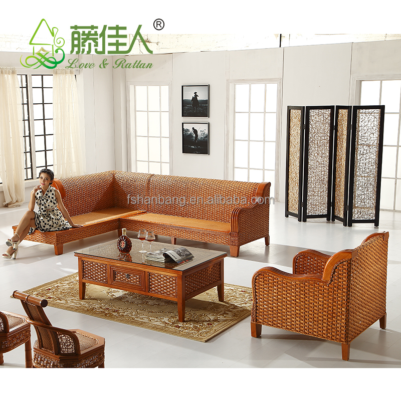 Hotselling wicker bamboo cane wood furniture sofa set for Muebles en polan