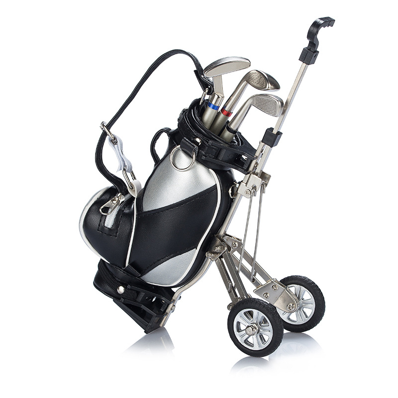 Custom Logo Original Mini Golf Trolley with Cart Desk Top Pen and Pencil Holder Gifts Golf Clubs Shape