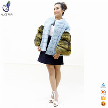 High quality ladies short coat design real fur coat mink women with dyed silver fox sleeve