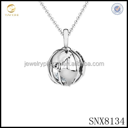 Unique Design pearl cage locket pendant necklace,s925 wholesale silver globe pendant necklace