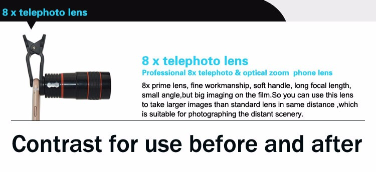 China Factory Mini 8X Telephoto Lens for Iphone7 Plus Mobile Phone Low Cost