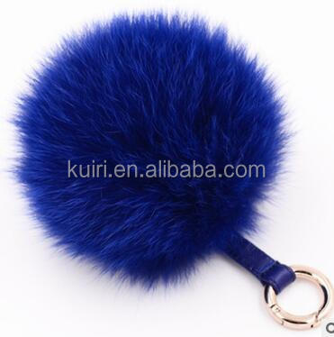 WS-L-6 navy blue fox fur ball keychain