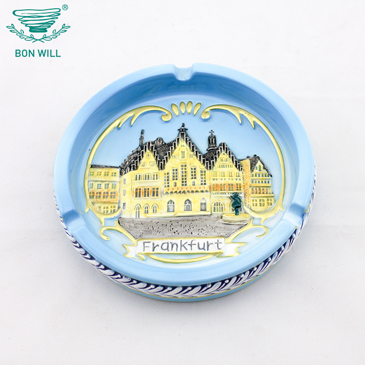Custom design round shape hand painted embossed different kinds arts smokeless ashtray