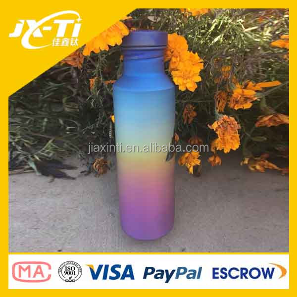 anodizing rainbow surface titanium sports drinking water bottle , ultralight bicycle accessory