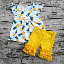 2017 Wholesale boutique kids fashion pineapple clothing set high quality baby fruits printed clothing from china