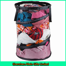 Household Pop-Up Mesh folding laundry hamper with wire frame