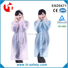 fashion women long transparent spot ladies pvc raincoat
