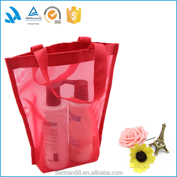 Red Color Polyester Shopping Net Mesh Tote Bag hot sale
