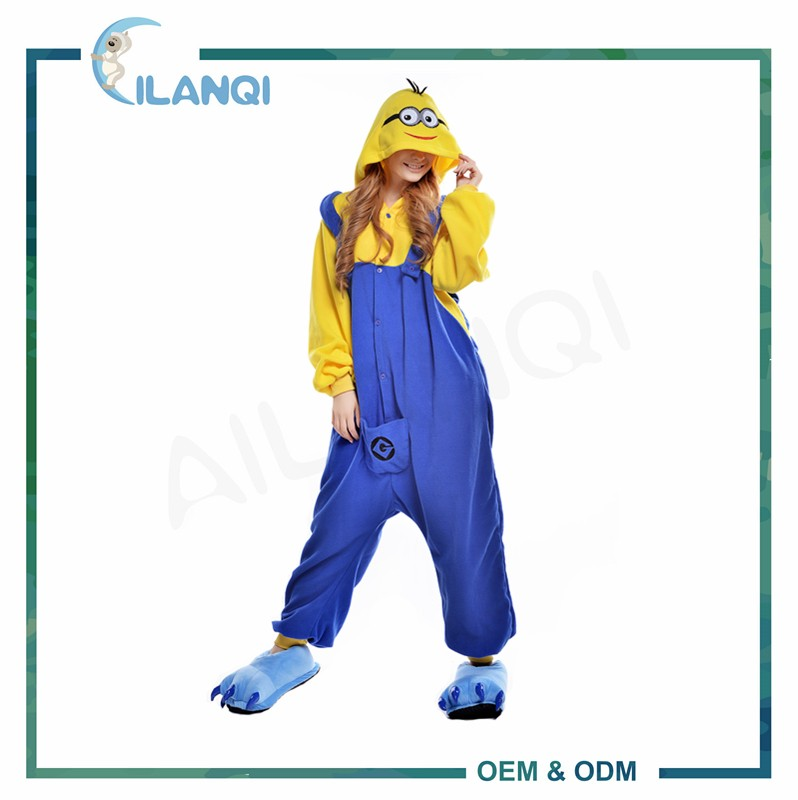 ALQ-A037 Supply type flannel pajamas wholesale adult onesie minions