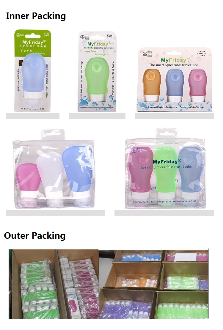 2017 China Supplier Promotion Travel Size Portable Silicone Travel Bottles