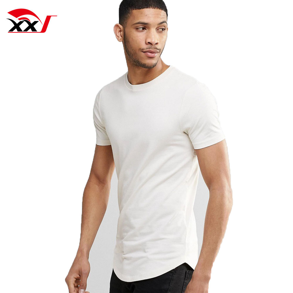 mens fashion t-shirts 2017 wholesale plain longline curved hem 96 cotton 4 elastane white t shirts blank for man in bulk