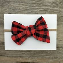 Simple design red stripe printed bow headband baby girl's hair bow