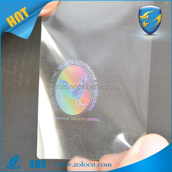 Hologram transparent business cards laser sticker transparent hologram stickers