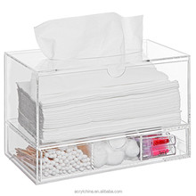 Modern Clear Acrylic Countertop Pull Out Storage Drawer / Cosmetic Organizer Box / Tissue Dispenser