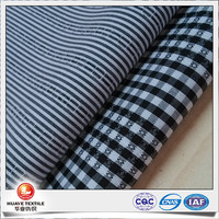 yarn dyed cotton polyester black plaid and stripe poplin silk-like fabric