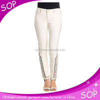 bulk designer casual white best brand jeans with embroidery wholesale china supplier