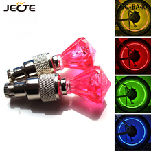 2Pcs LED Bicycle Wheel Tire Valve Light Safety Warning Flashing Diamond Car Lamp Decorate Bike Light Gorgeous Night Tail Light