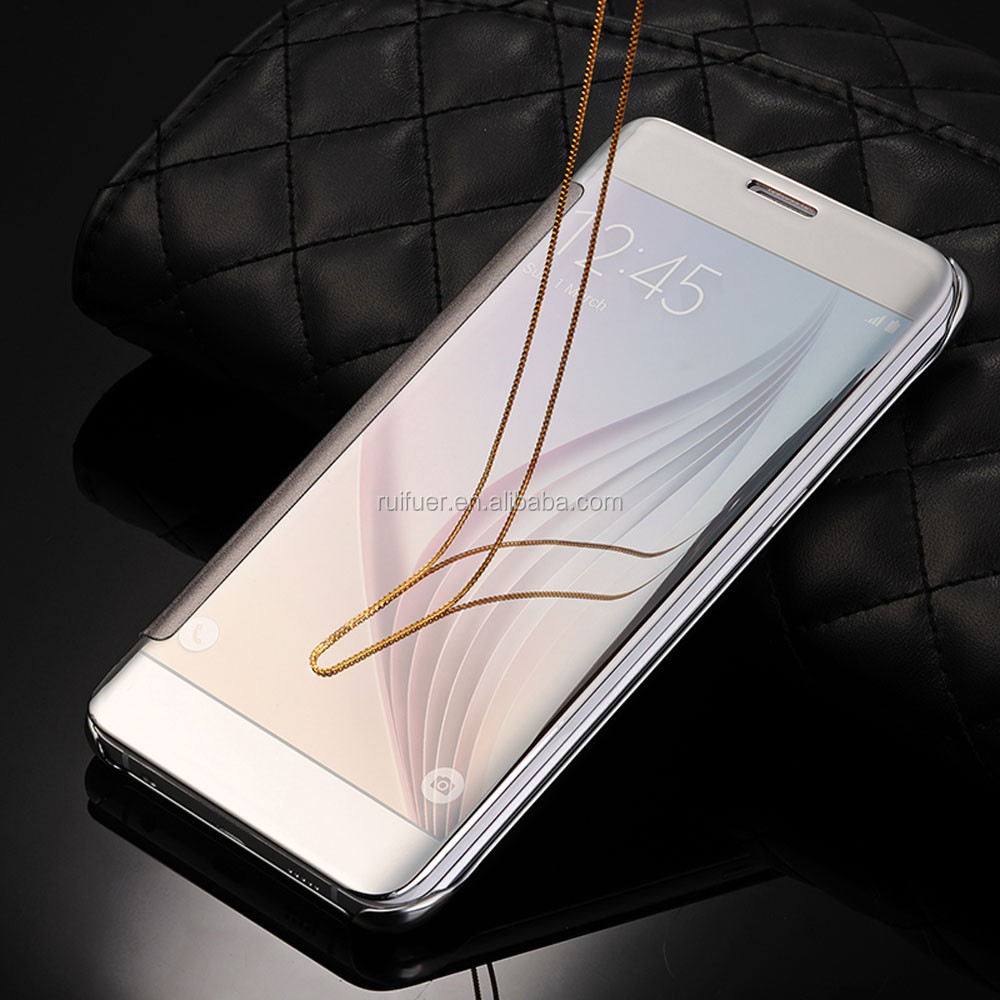2016 New Arrive Luxury Plating Touch Sensitive Clear View Smart Flip Mirror Case for Samsung Galaxy S6 Edge Plus