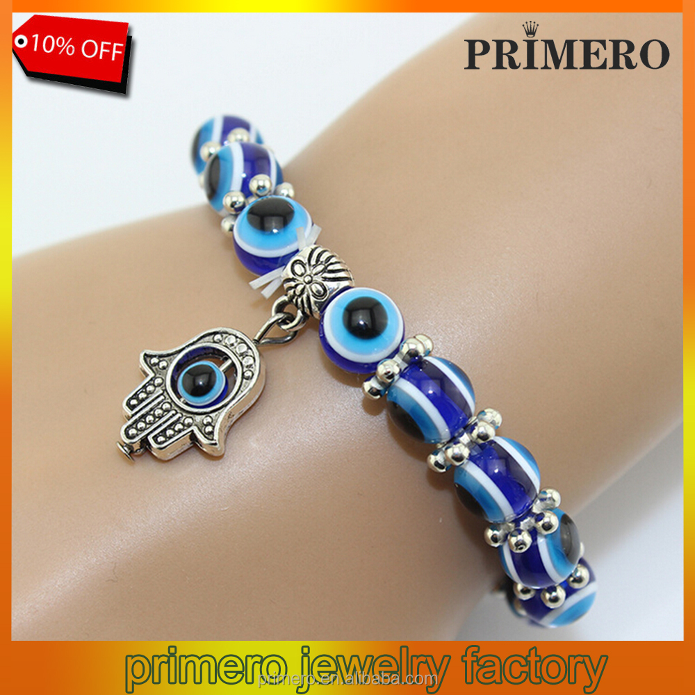 PRIMERO Turkish Blue Evil Eye Macrame Kabbalah Glasses 5mm Glass Ball Beads Hamsa Fatima Good Luck Bracelet for Women and man