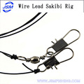 Sharpen Point Black Color high carbon sabiki rigs Wire leader with double hook