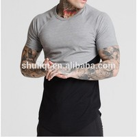 rounded hem athletic apparel manufacturers long tail polyester t shirt two tone rock t-shirt