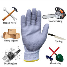 Gray Anti-slash PU Coated Industry Cut Protection Work Gloves