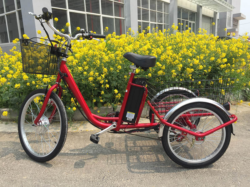 2017 hot sale electric trike shopping trike with battery operated 3 wheel e trike with big basket