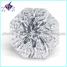 Polygon Cut White Concave Cut Synthetic CZ Gemstone