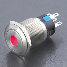 19mm 250VAC Low voltage anti vandal switch, push button switch with red led