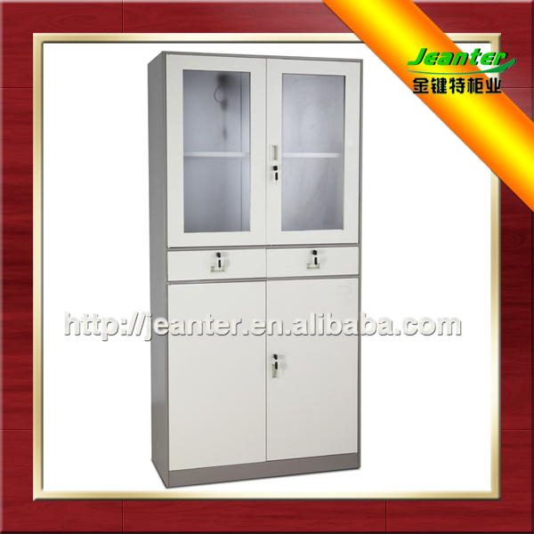 For Dubai Kuwait Saudi Europe Market High Quaity 2 Glass Door Horizontal Pc Cabinet Thin-Rimmed Cabinet With Drawers