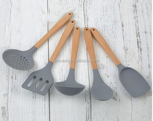 5-piece silicon kitchenware with wood handle, wooden handle kitchen utensils