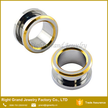 316L Surgical steel gold plug Earring Gauages Piercing Jewelry