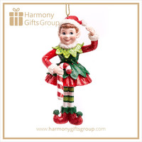 Polyresin Candy Cane Elf Christmas Decoration