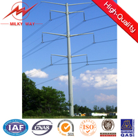 400kv galvanized electric power steel tubular pole
