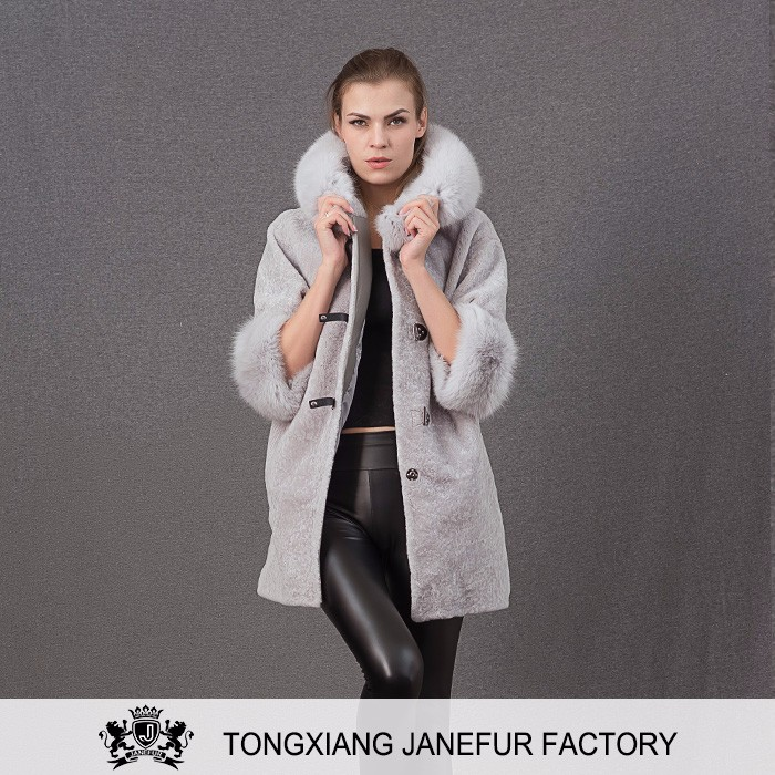 Factory direct wholesale shearling sheepskin fur coat with wool hat