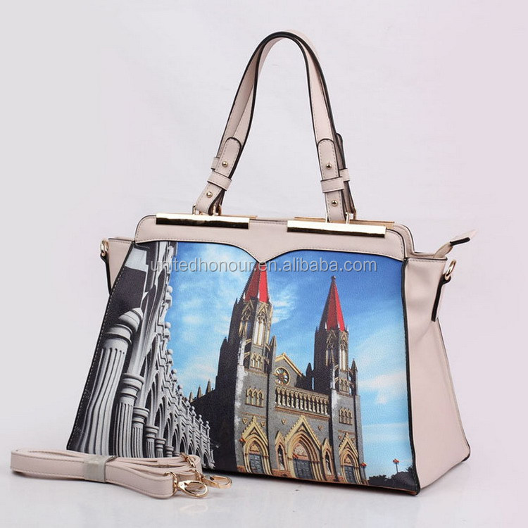 Newest designer zipper model custom PU leather printing ladies handbag, bag for women