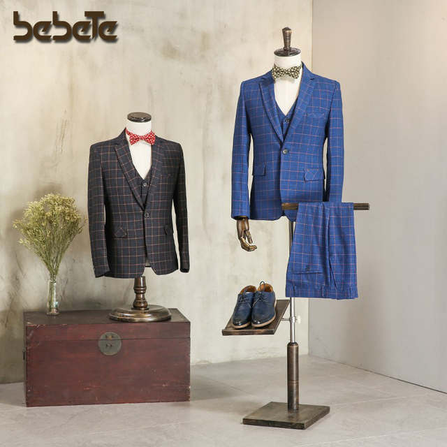 Half body fiberglass male mannequin formal dress suit display mannequin men fabric mannequin with wooden arms