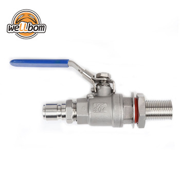 "1/2"" BSP Stainless Steel 304 Weldless Compact Ball Valve with 1/2'' Hose Barb Homebrew Beer Kettle Fermenter"