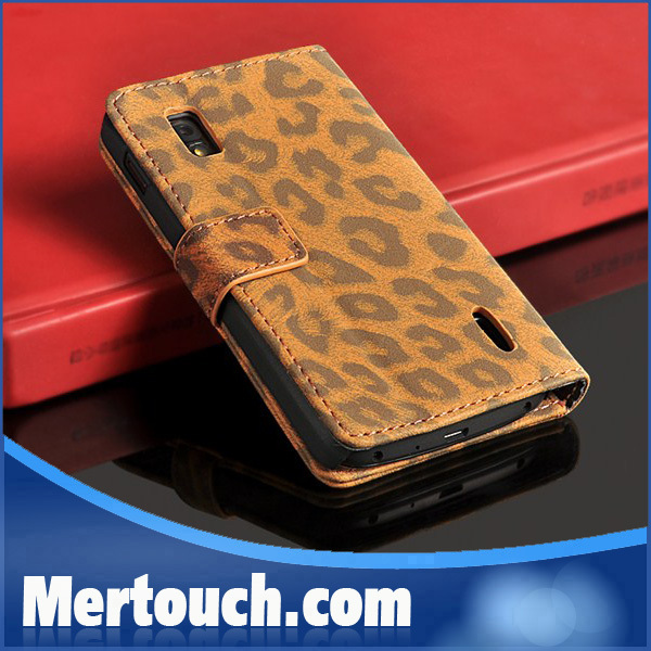 Leopard leather case for Lg google nexus 4 e960 wallet stand flip business card holder leather case for LG e960