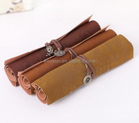 DHL Freeshipping Min 200pcs/lot Vintage pirate map leather roll pencil case pen curtain cosmetic bag pencil bags