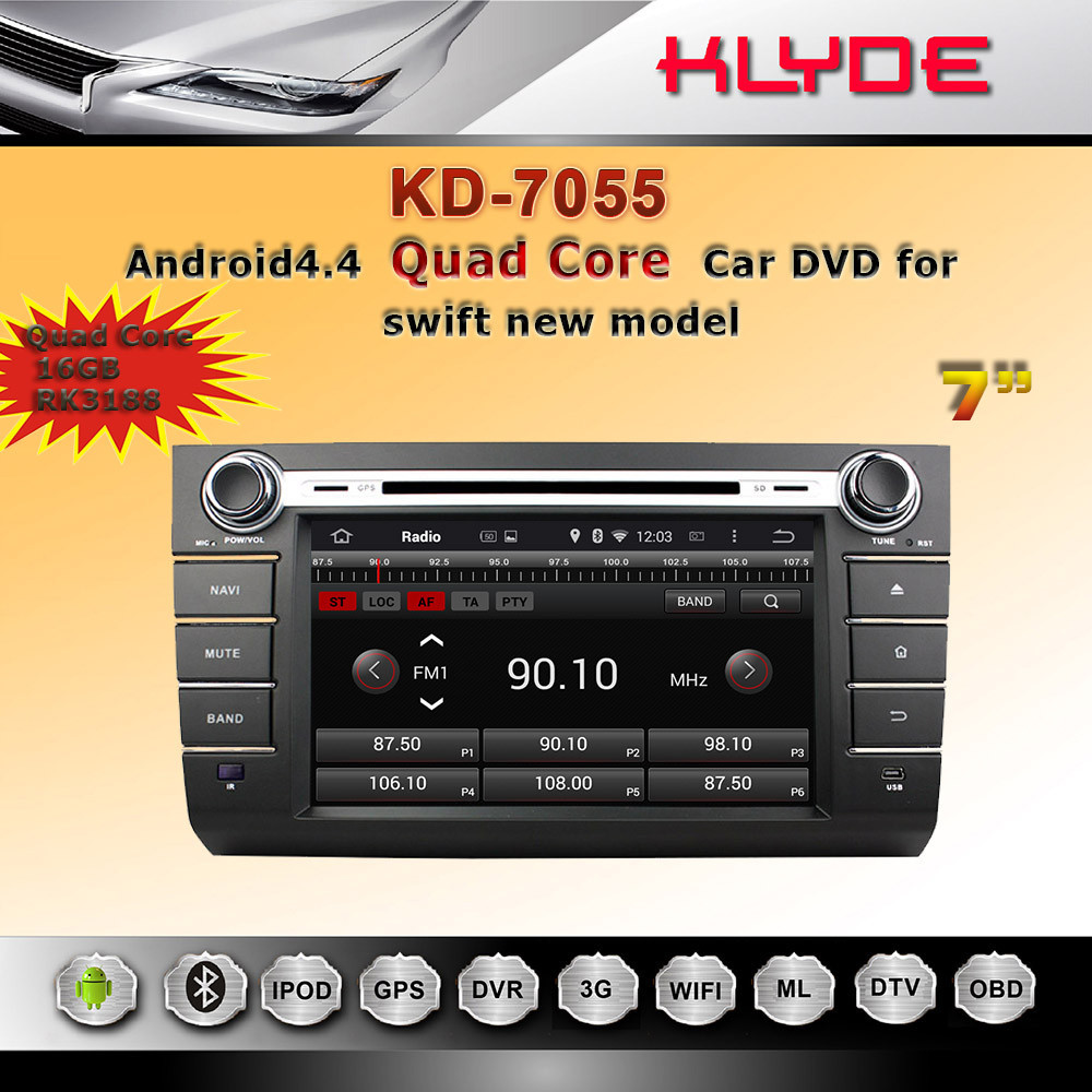 factory customize Android 4.4 quad core RK3188 iPod radio AUX USB input wifi 3g 2 din in-dash car dvd gps for Suzuki swift