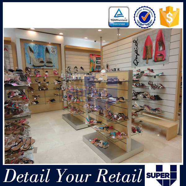 2016 Newest Created Simple Style High Quality Temperend Glass Shoe Store Design