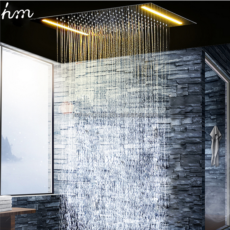 304 SUS LED Ceiling Lighting Shower Head 360*500MM Rainfall Shower
