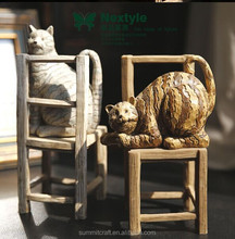 Imitation wood resin hand carving cat life size cat statue