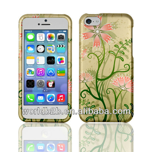 IMD IML printing hard case cover for iphone 5c, water transfer printing finish