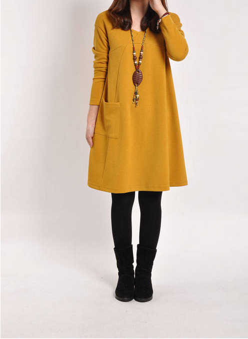Women Winter Long Sleeve Pocket Tunic Loose Casual Pregnancy Dress