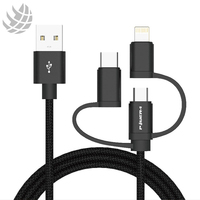 Best 3 In 1 Nylon Braided Micro Usb To Type C Phone Charger Usb Charging Data Cable Cord For iPhone Apple