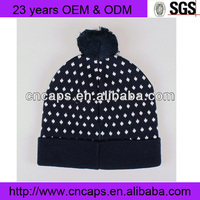 Spot design wholesale fold up beanie hats with top ball