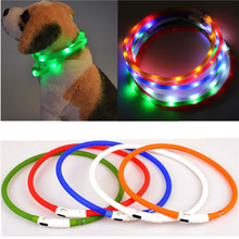 Newest USB Rechargeable Led Dog Pet Flashing Collar Light Up Chargeable Night Safety Necklace Free Size Six Colors Convinient
