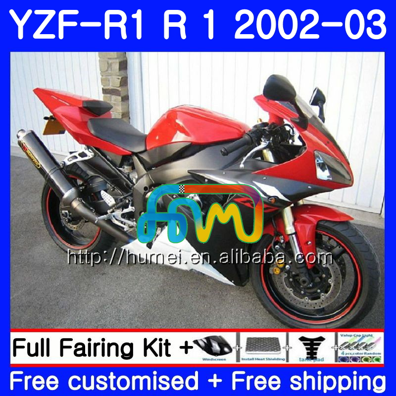 Body For YAMAHA YZF red black 1000 YZFR1 <strong>02</strong> <strong>03</strong> YZF-1000 Bodywork 99HM29 YZF R 1 YZF <strong>R1</strong> <strong>02</strong> <strong>03</strong> YZF1000 YZF-<strong>R1</strong> 2002 2003 <strong>Fairing</strong>